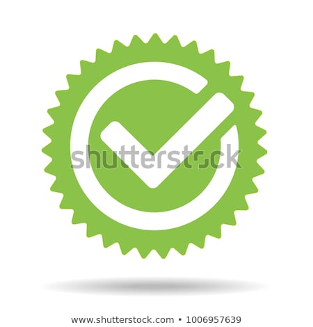 Foto stock: Certified Green Stamp With Tick Icon Isolated On White Background Vector Illustration