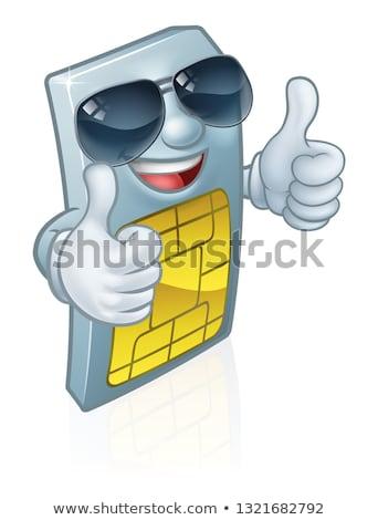 sim card cool shades thumbs up cartoon mascot stock photo © krisdog