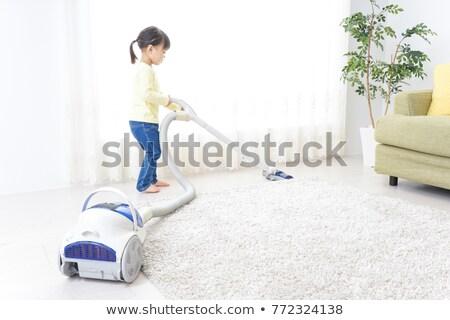 Crianças trabalhos domésticos branco ilustração mulher casa Foto stock © colematt