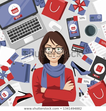 Shopping girl. Online shopping concept. Online store objects and banner. Table with laptop, shopping Stock photo © makyzz