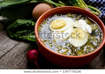 Sorrel soup or green borscht with eggs Stock photo © furmanphoto