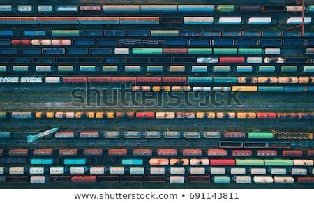 Luchtfoto spoorweg vracht treinen top Stockfoto © denbelitsky