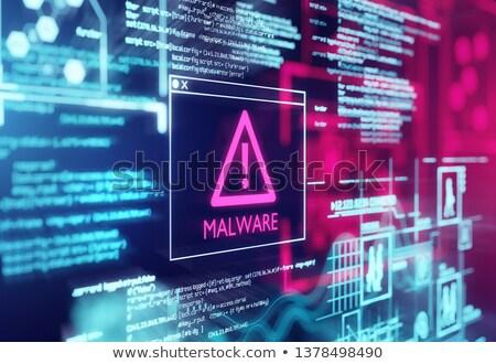 Malware ostrzeżenie ekranu ekranie komputera program kodu Zdjęcia stock © solarseven