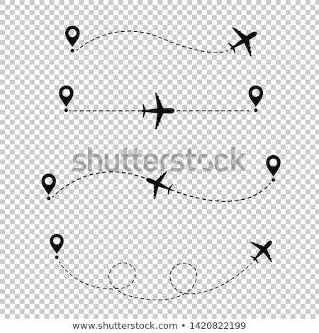 Aereo punteggiata line trasparente mappa design Foto d'archivio © barbaliss