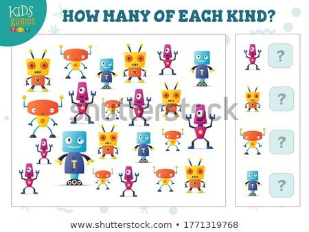 how many robots counting game for kids stock photo © izakowski