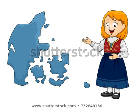 Kid Girl Map Denmark Illustration Stock photo © lenm