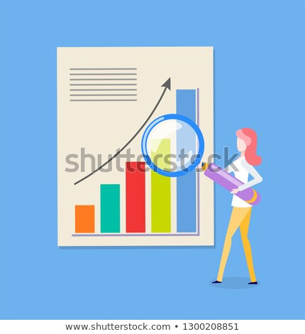 woman and loupe chart with rising up arrow vector stock photo © robuart