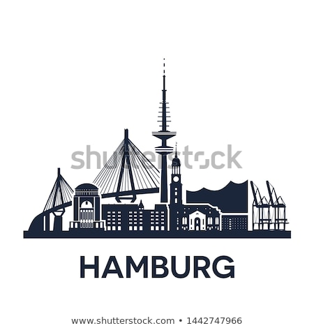 Hamburg city skyline, Germany, extended version, solid color Stock photo © unweit