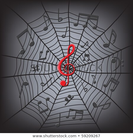 spider web with treble clef music notes Stock photo © romvo