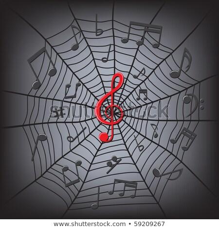 Pókháló violinkulcs hangjegyek fehér központ sötét Stock fotó © romvo