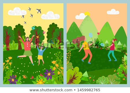 Kids Playing Badminton, Running with Net Vector Stock photo © robuart