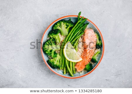 Brown rice, seafood, vegetables. Healthy meal for lunch Stock photo © galitskaya