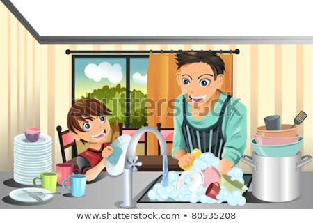 Jongen wassen keuken home schoonmaken Stockfoto © wavebreak_media