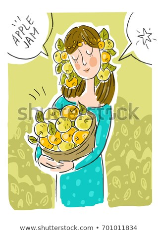 young girls picking yellow apples vector image stock photo © robuart
