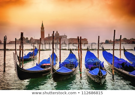 Gondolas moored by Saint Mark square, Venice, Italy, Europe. Stock photo © asturianu