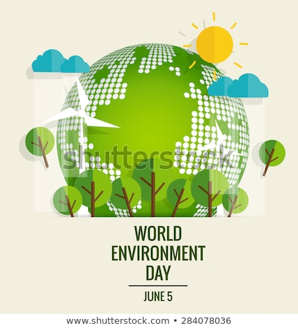 Environment Day banner of green cutout earth map Stock photo © cienpies
