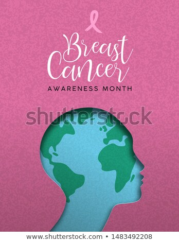 Stock photo: Breast Cancer awareness pink papercut world map