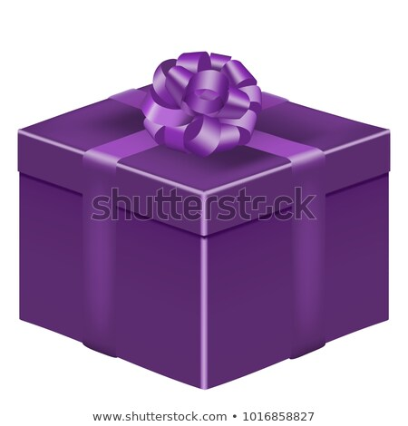 Luxury holiday white gift box with silk ribbon and bow on violet stock photo © Anneleven