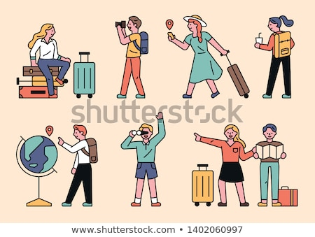 Turizmus terv stílus vektor betűk szett Stock fotó © Decorwithme