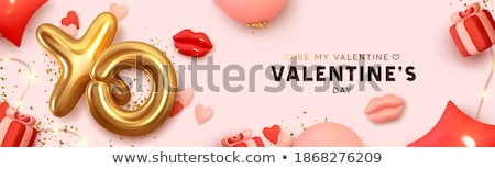 Poster with Gift cards, pink gift box and confetti, vector illustration. Concept for Valentines day. Stock photo © ikopylov