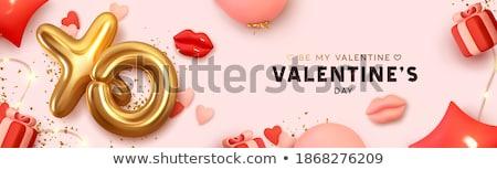 Affiche cadeau cartes rose coffret cadeau confettis Photo stock © ikopylov