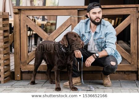 Fiatal tulajdonos fajtiszta barna labrador fából készült Stock fotó © pressmaster