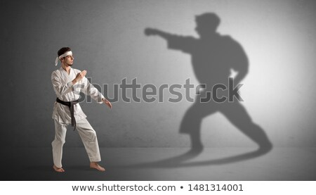 Karate man eigen schaduw jonge business Stockfoto © ra2studio