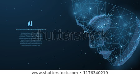Photo stock: Glowing Technology Blue Face Artificial Intelligence Design