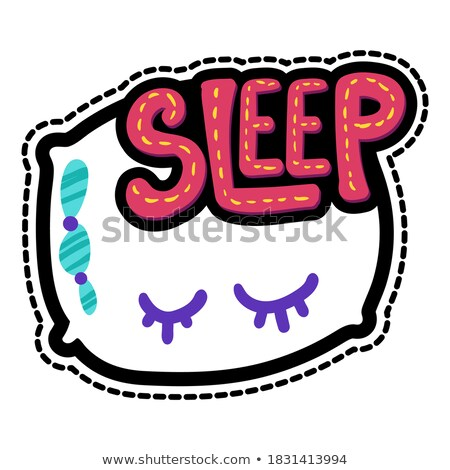 Pillow with dream lettering stitched frame patch Stock photo © barsrsind