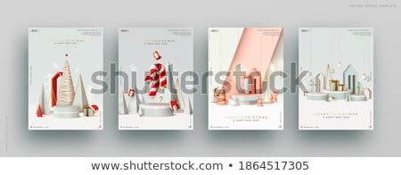 Сток-фото: Merry Christmas Or New Year Greeting Card Holiday Background With Realistic Red Christmas Balls And