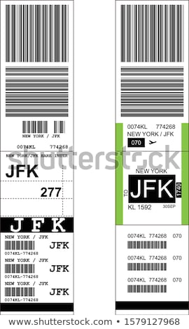 Stock photo: Sticky baggage label with JFK New York airport sign, hand luggag