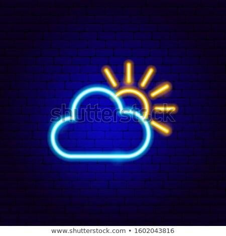 Cloudy Neon Label Stock photo © Anna_leni