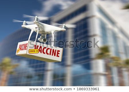 航空機 空気 市 企業 建物 日没 ストックフォト © feverpitch