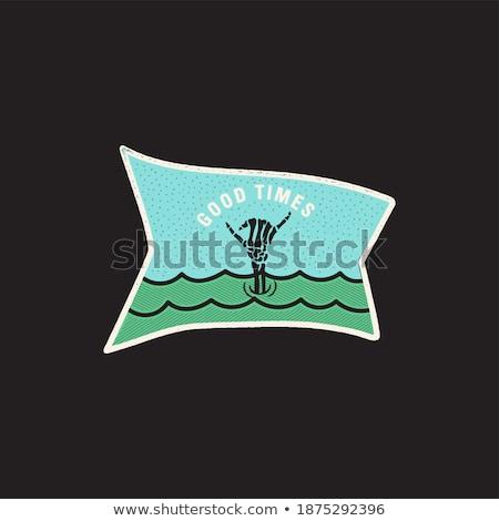 ヴィンテージ スケルトン 手 ロゴ 印刷 デザイン ストックフォト © JeksonGraphics