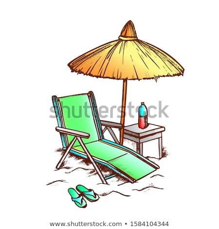 şezlong saman şemsiye tek renkli vektör güverte Stok fotoğraf © pikepicture