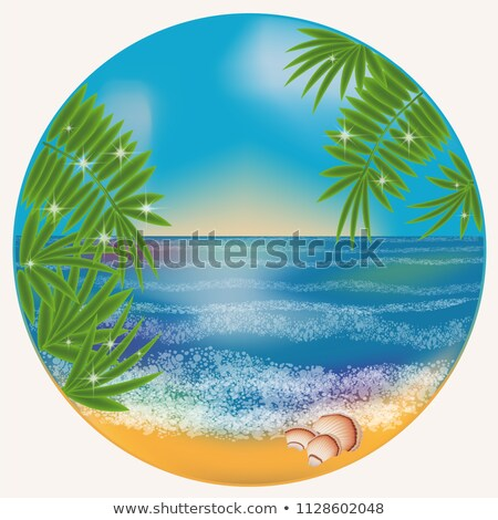Sea Wave, Seaweed And Palm Trees Banner Vector Stock photo © pikepicture