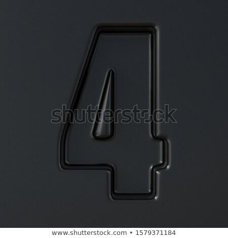 Preto gravado fonte número quatro 3D Foto stock © djmilic