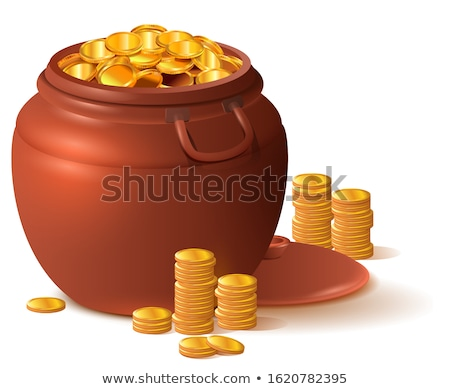 Large clay brown pot full of gold. Ceramic pot with lid Stock photo © orensila
