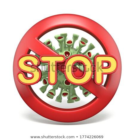 Verboden teken virus 3D 3d render illustratie Stockfoto © djmilic