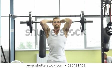 Gespierd man triceps barbell sport Stockfoto © Jasminko