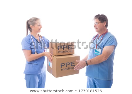 Doctors and nurses receiving a delivery of medical equipment PPE Stock photo © lovleah