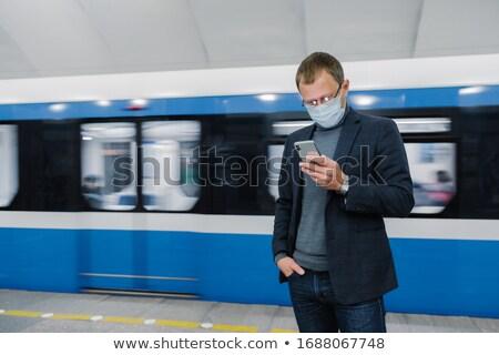 Férfi arc maszk vágány vonat földalatti Stock fotó © vkstudio