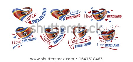 National flag of the Swaziland in the shape of a heart and the inscription I love Swaziland. Vector  Stock photo © butenkow