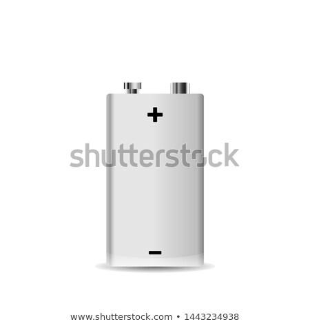 Realistic metal 9V brick alkaline battery on white Stock photo © evgeny89