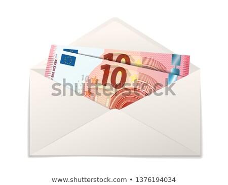 Fake two ten euro banknotes in white paper envelope on white Stock photo © evgeny89