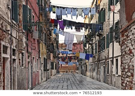 Ruházat akasztás ruhaszárító keskeny utca Velence Stock fotó © boggy
