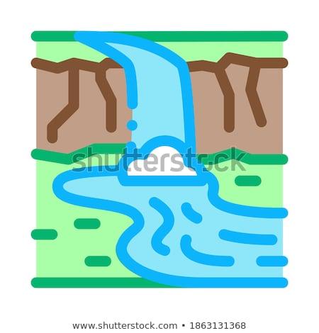 Prąd rzeki most ikona wektora Zdjęcia stock © pikepicture