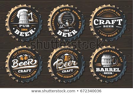 Bier Veröffentlichung logo schwarz Jahrgang Alkohol Stock foto © m_pavlov