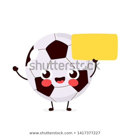 Happy face ball with blank poster in hand Stock photo © oneo