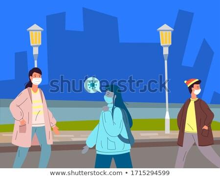 Zakażony kobieta medycznych maska wirusa ludzi Zdjęcia stock © robuart